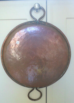 Large vintage French copper skillet, saute pan, 2 copper handles, tin lined