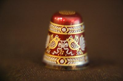 Ruby Red Thimble With Love Birds And Gold Trim With Case