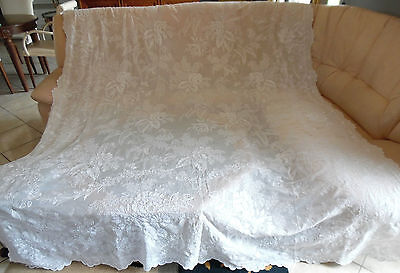 """Exquisite Antique French Cornely,  White Work Curtain 19Th Century. 118"""" X 83"""""""