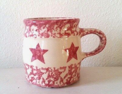 Gerald E Henn The Workshop Red Star Spongeware Pottery Coffee Cup Mug Roseville