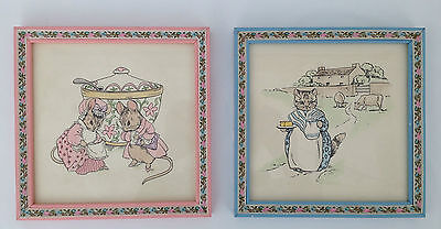 Vintage BEATRIX POTTER  Framed Art Set of 2 Hand Colored Nursery Wall Decor