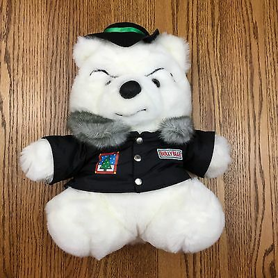 "Bully Santa Bear 12"" Plush 1989 Polar Club Black Jacket Hat Marshall Fields"