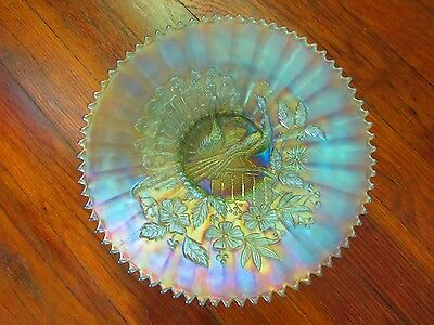 "Northwood Peacocks on the Fence Ice Green Carnival Glass 9 1/4"" Plate~EXCELLENT"