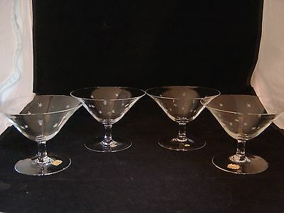Vintage Set Of 4 Real Crystal Hand Cut Sherbet Or Martini Glasses Made Germany