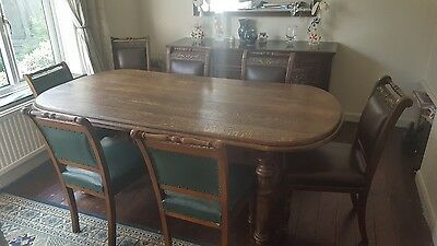 edwardian scroll leg chairs and antique dining table
