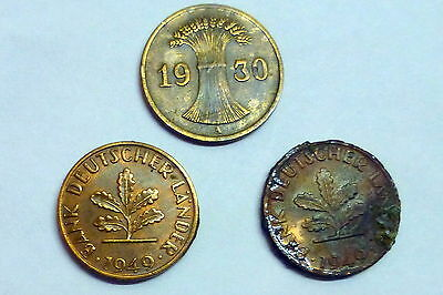 Germany 1 Pfenning Coins - Lot of 3