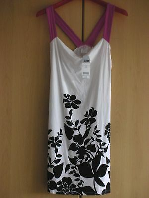 Lovely Next New with Tags Black, White & Pink Floral Dress Size 10