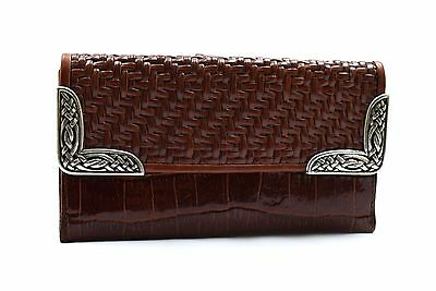 Brighton Brown Peanut Woven Leather Clutch Wallet Silver Detail  - NEW