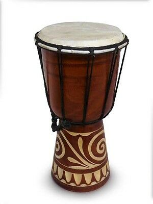 DJEMBE/BONGO /DRUMS,GOAT SKIN.HARD WOOD.FAIRTRADE (30cm tall with carving)