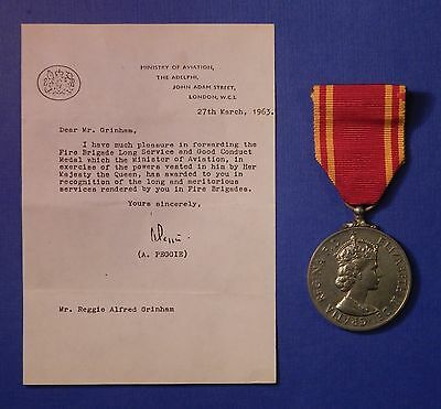 British Fire Brigade Long Service Medal Qe2 Named                         Ab0476