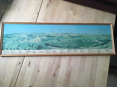 Vintage Panoramic View Jerusalem Map Print Picture Framed