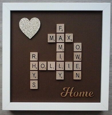 (a) Scrabble Picture Personalised Home/Family/Love/Friends 24 Colour/6 Glitter