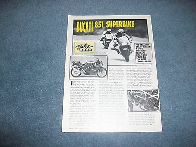 "1990 Ducati 851 Superbike Vintage Info Article ""Italian Giant Killer..."""