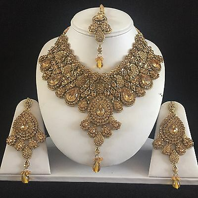Gold Beige Indian Costume Jewellery Necklace Earrings Crystal Set New Bridal 89