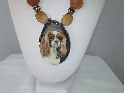 Cavalier Handpainted detachable Pendant on Serpentine Jade & Quartz Necklace G/F