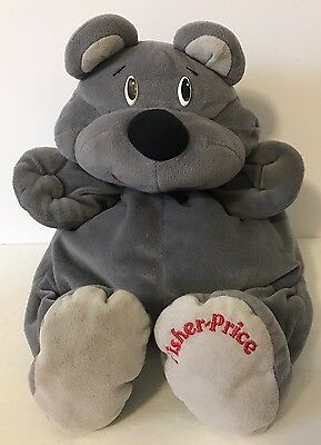 1993 Fisher Price Rumples Bear Hugsey Plush Gray Rumple 6814 Grey