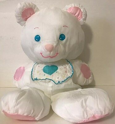 Fisher Price Puffalumps White Baby Bear PlushToy 1369 Heart Bib