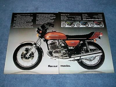"""1973 Kawasaki H-2 750 Vintage Ad """"Flex Our Muscles"""" H-1 500 S-2 350 S-1 250"""