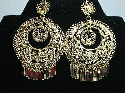 Mexican Gold plated  Filigree Large Round With Dangle Inside Folklorico earrings