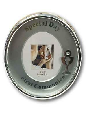 FIRST COMMUNION Oval Frame, 100 x 85mm, Silver Plated