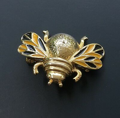 Unique Vintage Bee Brooch In Enamel On Metal