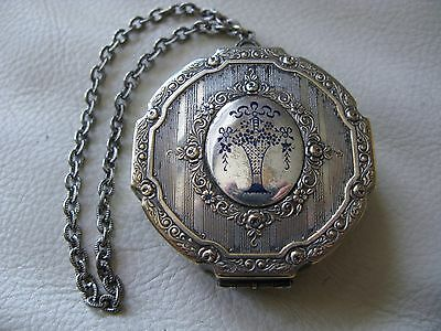 Antique Silver T Cobalt Blue Enamel Flower Basket Chain Handle Dance Compact