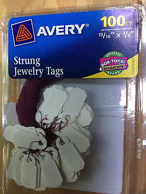 "Strung JEWELRY TAGS - 100 count - 13/16"" x 3/8"" - Price Tag Purple String Avery"