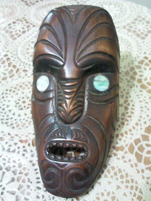 Hand Carved Wooden Tiki New Zealand - Paua Shell Eyes