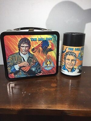 Vtg The Fall Guy Metal Lunchbox with Thermos Aladdin TV Series Lee Majors 1981