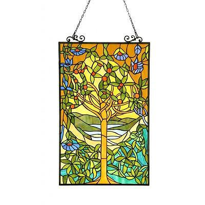 Tiffany Style Tree Of Life Stained Glass Window Panel