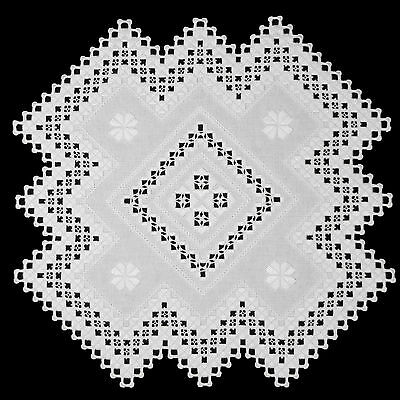 Hardanger Embroidery Embroidered Table Center Classic White DMC Pearl Cotton