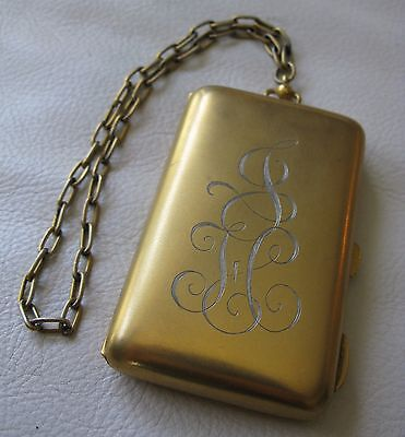 Antique Art Deco Beautiful Gold T Coin Holder Card Case Purse Compact JH BLISS