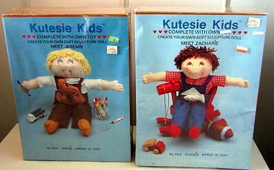 2 Vintage Boy Kutesie Kids Doll Making Kits - Jeremie & Zacharie - New & Sealed