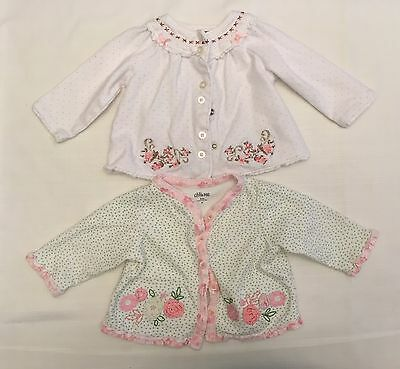 Baby Girl 3-6 Months Embroidered Cotton Cardigan Sweater Lot