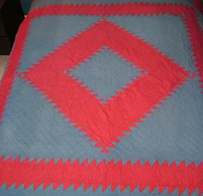 Vintage Antique Diamond Sawtooth Pair of Amish / Mennonite Red Blue Quilts 82x84