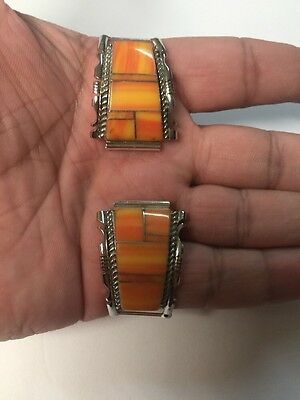 Native American Navajo Orange Spiny Oyster Inlay Large Watch Band Tips # 2