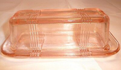 Pink~1/4lb Covered Butter Dish~Pressed Glass~Ribbon/CrissCross Pattern~Retro~NEW