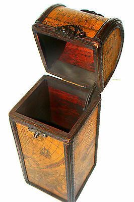 Vintage Humidor Cigar Box - Wood & Leather – 50's, 60's - Global Décor - 13 Inch