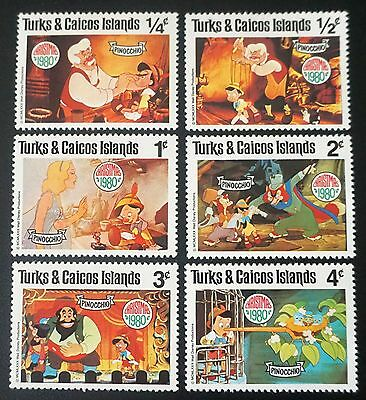 DISNEY    TURKS & CAICOS set of 6 stamps CHRISTMAS 1980   PINOCCHIO    MH