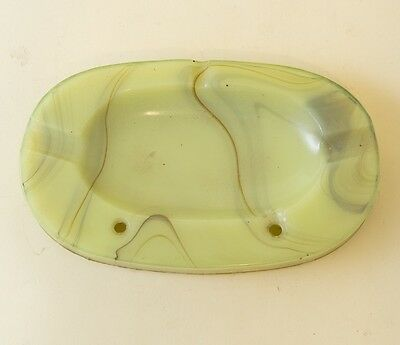 Vtg Agate Glass Ashtray Art Deco Akro UV Reactive Yellow Slag Glows Green Cigar