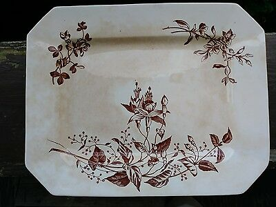 Antique Large Brown Transferware Octagonal Platter Canada Cliff