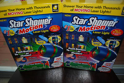 2x Star Laser Christmas Red Green Light Shower Night Motion As Seen on TV 2