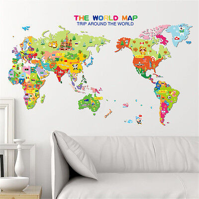 Animals world map nursery wall sticker mural decal living room kid play decor animals world map nursery wall sticker mural decal living room kid play decor gumiabroncs Images