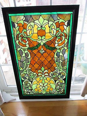 Vintage Stained Glass Window Panel Circa 1895 A.D. 19 3/4 x 33 3/4