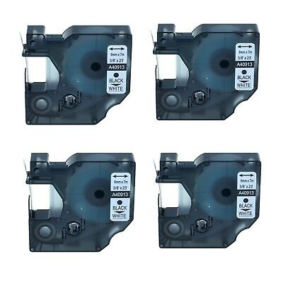 4PK 40913 Black on White Label Tape For Dymo D1 Labelmanager 260P, 280 9mm 7m