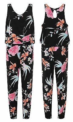 Womens Sleeveless Scoop Neck Floral Print Slim Pants Ladies Jumpsuit Trousers