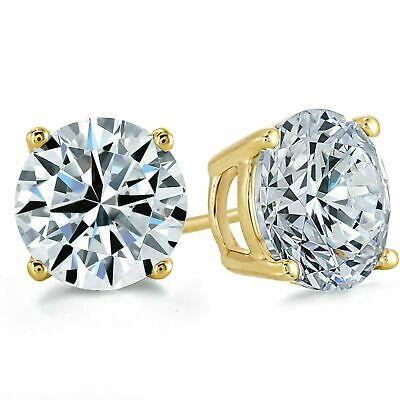 4 Ct Solid 14K Yellow Gold Basket Round Brilliant Cut Solitaire Earrings Studs