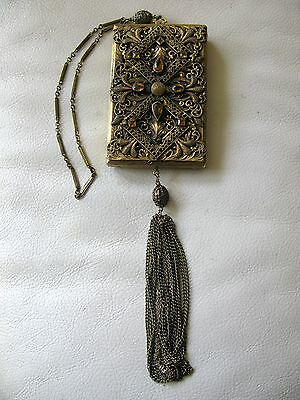 Antique Victorian Amber Jewel Filigree Bar Chain Lipstick LARGE Dance Compact