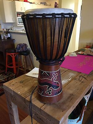 "Large carved Mahogany Toca 12"" Djembe, deep and beautifully hand painted"