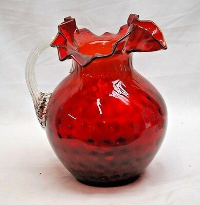 Old Vintage Red Cranberry Hand Blown Glass Ruffled Pitcher Clear Applied Handle